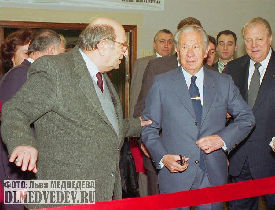 Л. И. Мильграм, Хуан Антонио Самаранч и В. Г. Смирнов в школе №45, Москва, январь 1998 года, фото Льва Леонидовича Медведева
